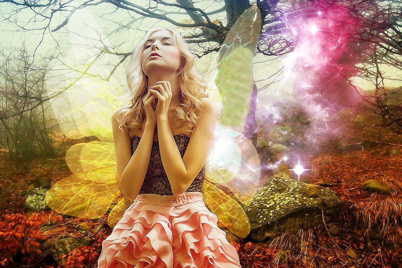 Fairy with blonde hair, praying