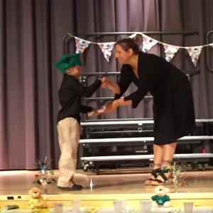 Getting his crayon diploma.